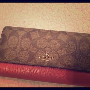 Coach pink logo print wallet